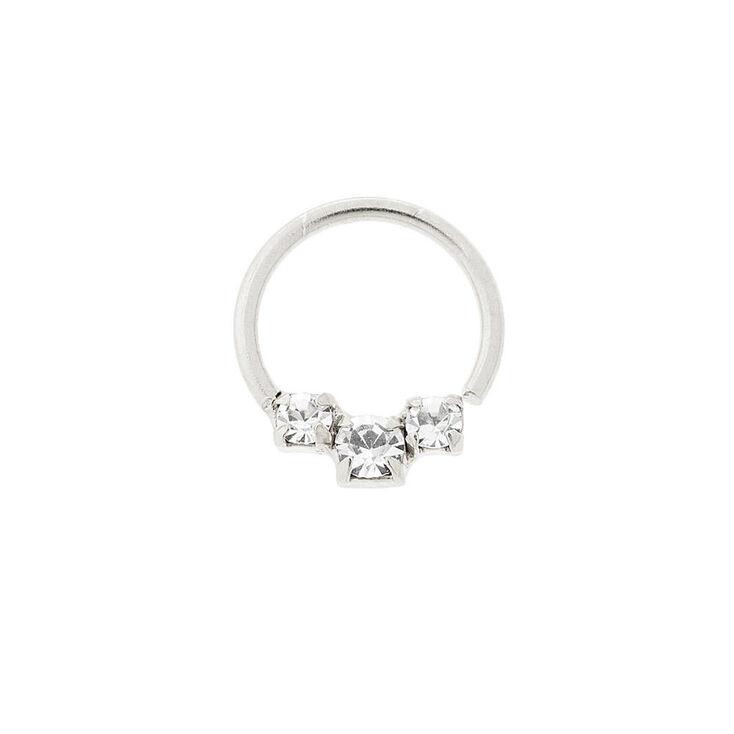 Sterling Silver 22G Crystal Cartilage Hoop Earring,