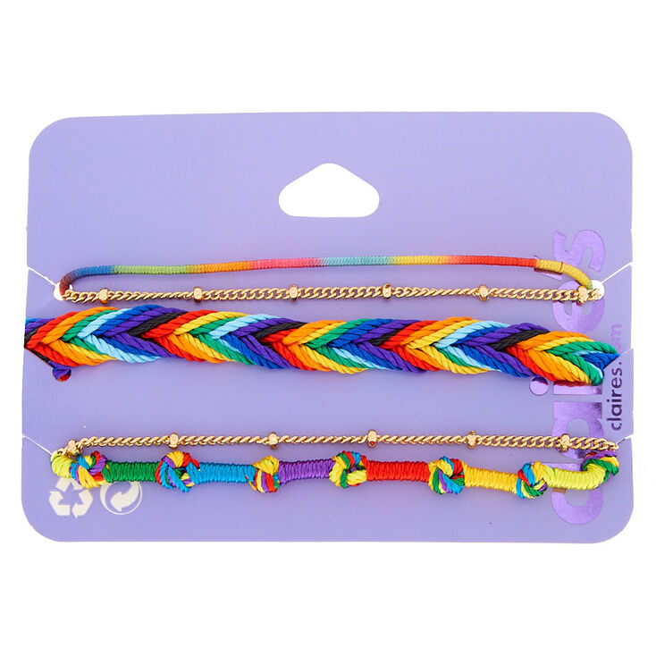 Rainbow Threaded Friendship Bracelets - 5 Pack,