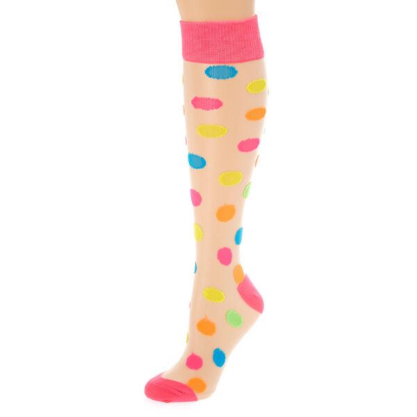 Claire's - neon polka dot sheer knee high socks - 1