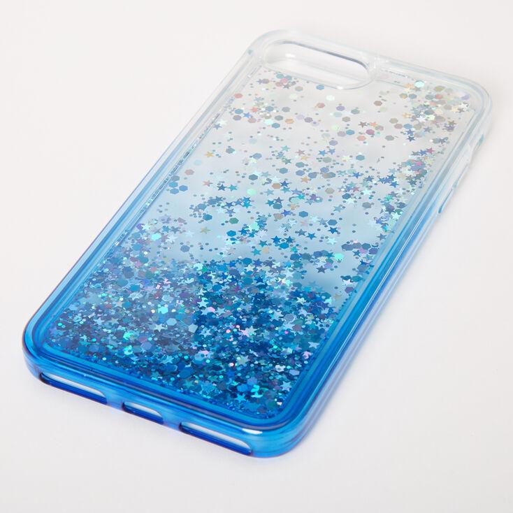 Blue Glitter Star Liquid Fill Phone Case - Fits iPhone 6/7/8 Plus,