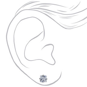 Silver Cubic Zirconia Square Magnetic Stud Earrings - 5MM,