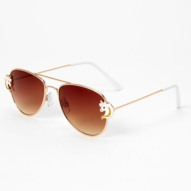 Claire's Club Unicorn Aviator Sunglasses - Gold,