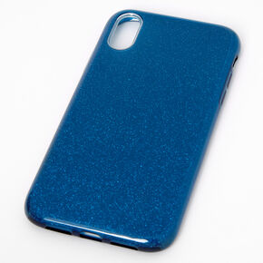 Navy Glitter Protective Phone Case - Fits iPhone XR,