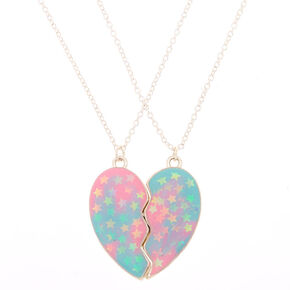 Best Friends Pastel Heart Pendant Necklaces - 2 Pack,