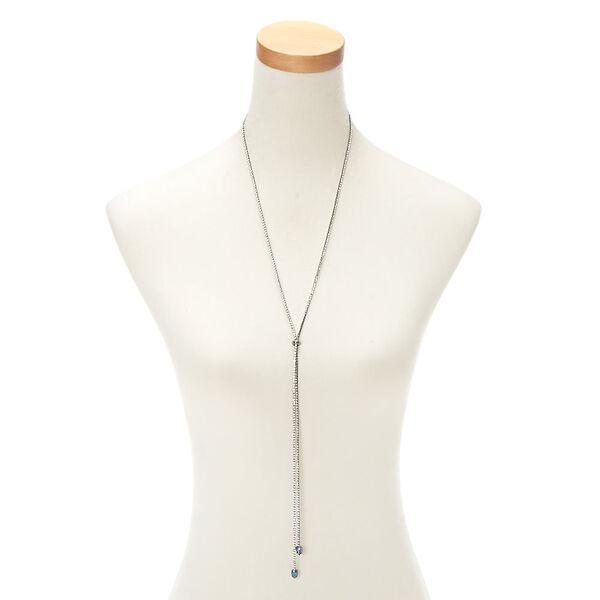 Claire's - hematite glass rhinestone long bolo pendant necklace - 2
