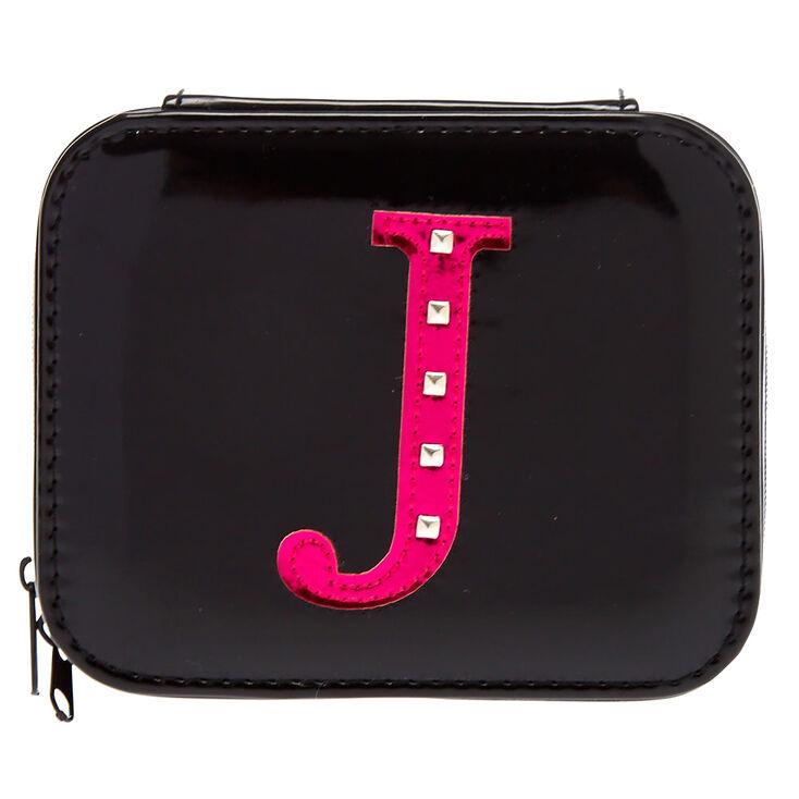 "Black ""J"" Initial Jewelry Case,"