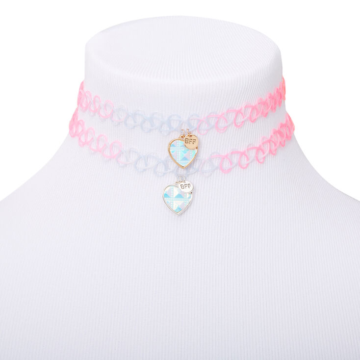 Best Friends Holographic Heart Scale Tattoo Choker Necklaces - 2 Pack,
