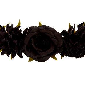 Couronne de fleurs avec roses noires à paillettes,