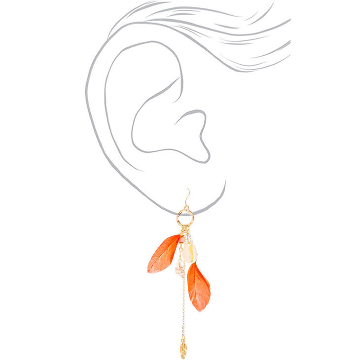 "Gold 4.5"" Shell Feather Drop Earrings - Coral,"