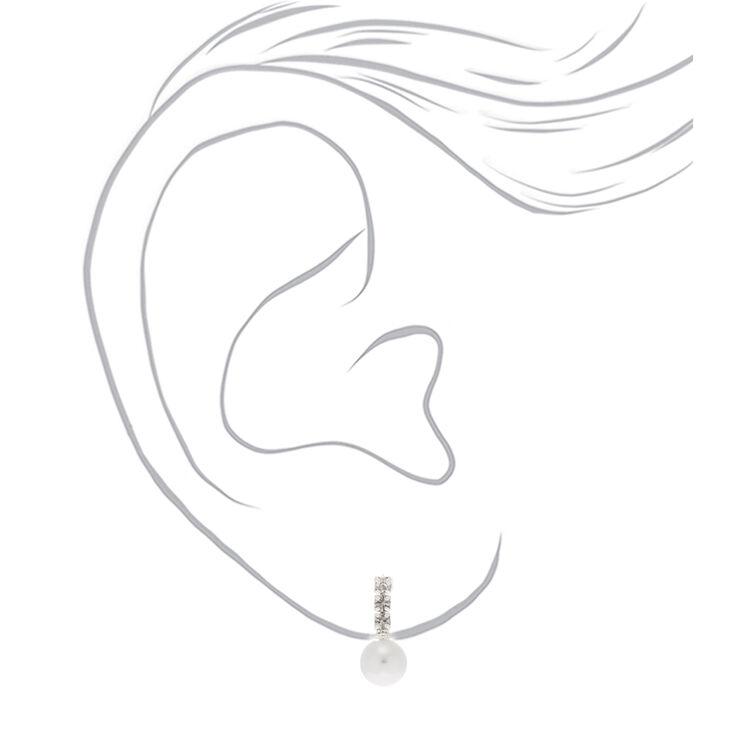 Pearl Rhinestone Stud Earrings,