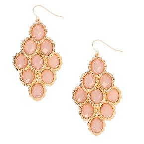 """Gold 2"""" Chandelier Stone Drop Earrings - Pink,"""