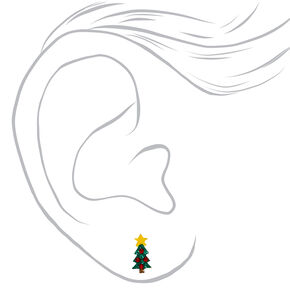 Sterling Silver Red & Green Holiday Tree Stud Earrings,