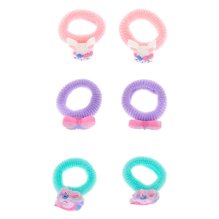 Claire's Club Critter Ribbed Hair Ties - 6 Pack,