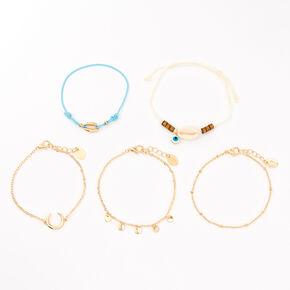 Bracelets aux designs variés ambiance Tulum couleur dorée - Turquoise, lot de 5,