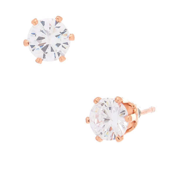 Claire's - 18kt rose plated 6mm cupcake stud earrings - 1