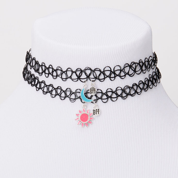 Claire/'s Best Friends Sun /& Moon Glow In The Dark Tattoo Choker Necklaces 2 P