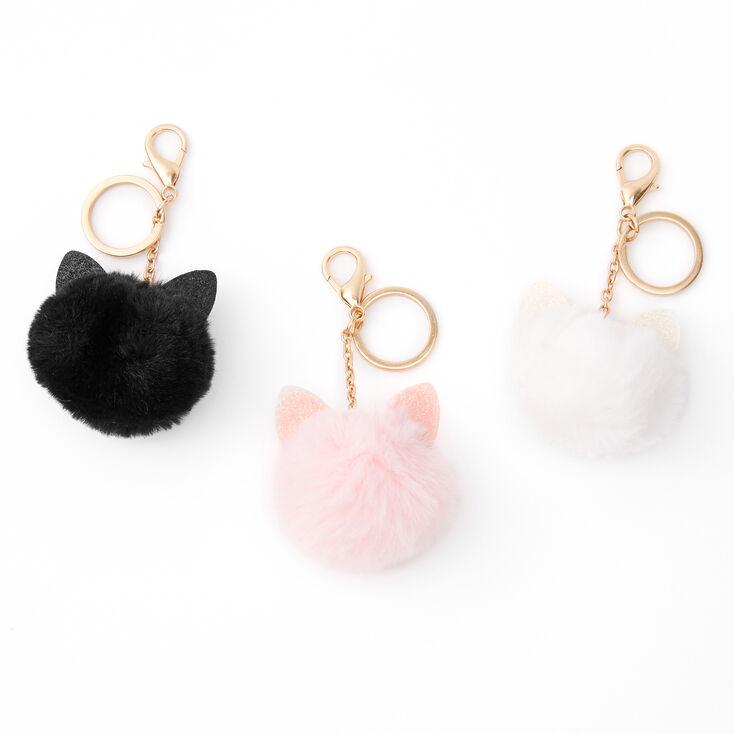 Gold Pom Pom Cat Keyrings - 3 Pack,