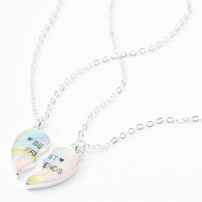 Best Friends Cosmic Heart Split Pendant Necklaces - 2 Pack,