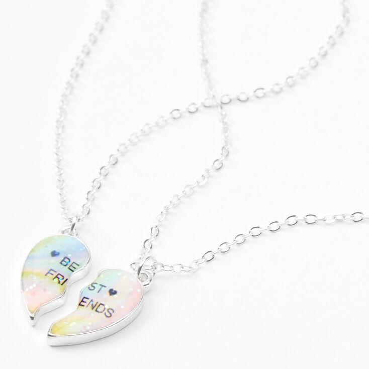 Best Friends Cosmic Heart Split Pendant Necklaces - 2 Pack,