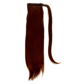 Bandeau avec fausse queue de cheval en cheveux raides - Brun,