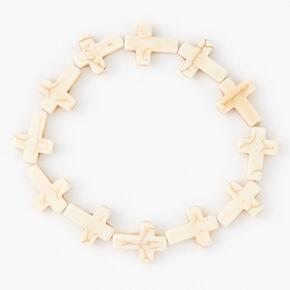 Bracelet élastique avec croix - Blanc,