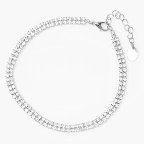 Silver Double Rhinestone Anklet,