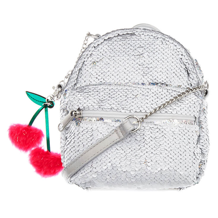 Reversible Sequin Mini Backpack Crossbody Bag - White,