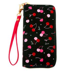Cherries Wristlet - Black,