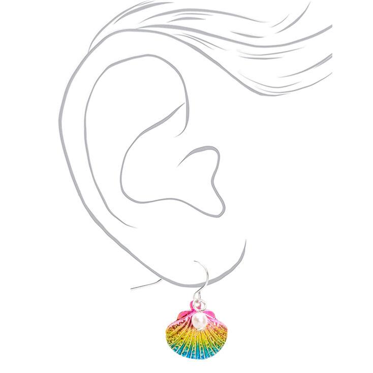 """Silver 1"""" Anodized Rainbow Seashell Pearl Drop Earrings,"""