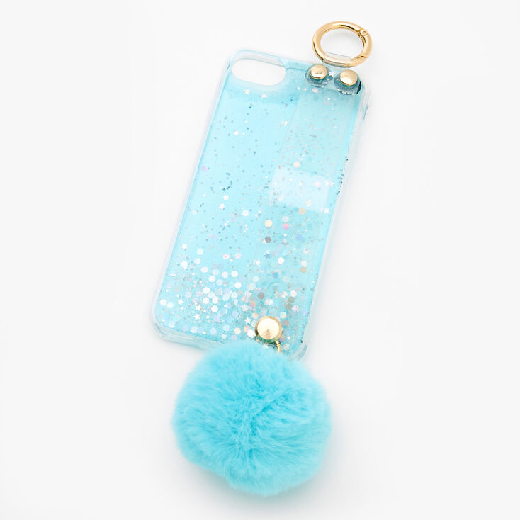 Baby Blue Glitter Pom Pom Phone Case - Fits iPhone 6/7/8/SE,
