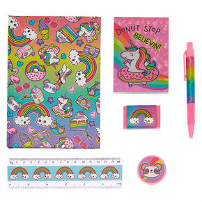Donut Stop Believin Rainbow Stationery Set - 6 Pack,