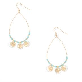 """Gold 2.5"""" Teardrop Shell Filigree Drop Earrings - Mint,"""