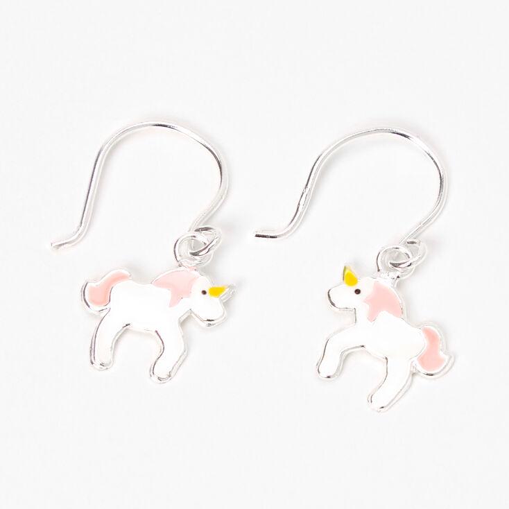 """Sterling Silver 0.5"""" Unicorn Drop Earrings - White,"""