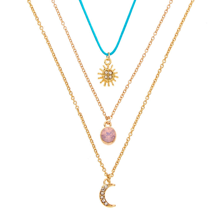 Lot de 3 colliers à pendentif soleil, lune et opale d imitation ... 69b6c4d1ed7e