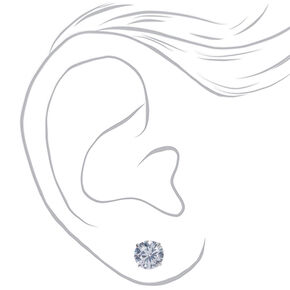 5d98a175b Sterling Silver Cubic Zirconia 8MM Round Stud Earrings