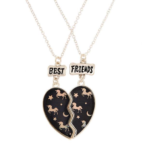 Claire's - best friends unicorn night pendant necklaces - 1
