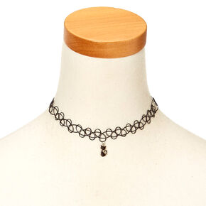 Cat Mood Pendant Tattoo Choker Necklace - Black,