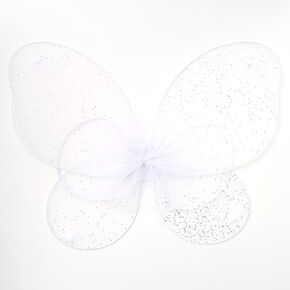 Claire's Club Glitter Tulle Wings - White,