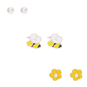 Buzzing Bee Stud Earrings - Yellow, 3 Pack,