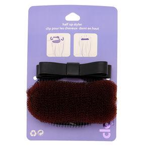 Accessoire pour cheveux à nœud noir pour demi-chignon,