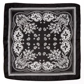 Paisley Silky Bandana Headwrap - Black,