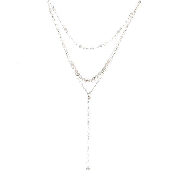 Silver-tone Fireball & White  Pearl Y Necklace,