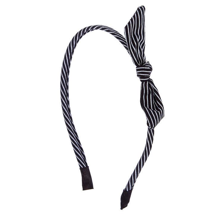 Black & White Striped Knot Headband,
