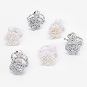 Claire's Club Glitter Snowflake Hair Ties - 6 Pack,