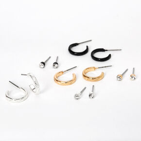 Mixed Metal Crystal Textured Hoop & Stud Earrings - 6 Pack,
