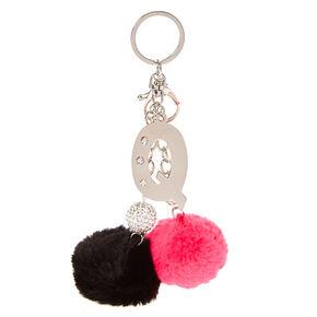 """Pink & Black Pom Pom Initial """"Q"""" Keyring,"""