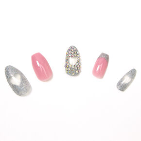 Bling Cut Out Heart Coffin Faux Nail Set - Pink, 24 Pack,