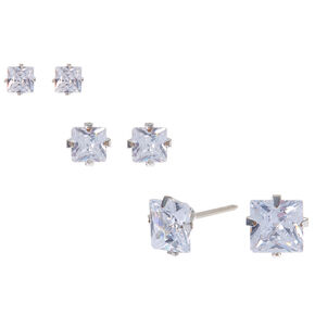 Silver Cubic Zirconia Square Stud Earrings - 3MM, 4MM, 6MM,