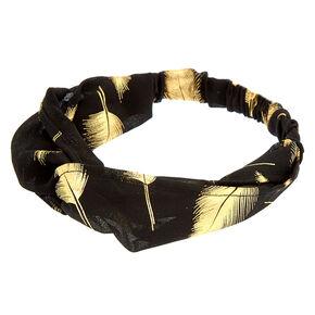 Gold Metallic Leaf Headwrap - Black,