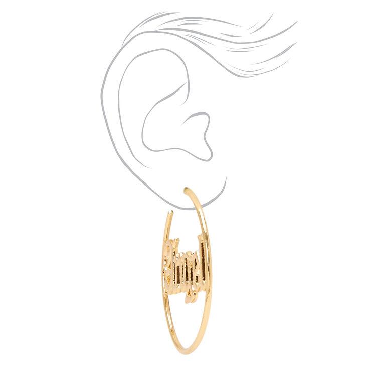 Gold 60MM Angel Script Hoop Earrings,